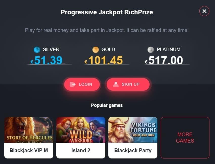 richprize progressive jackpot